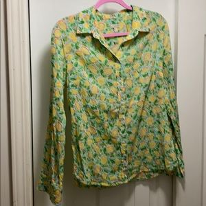 Talbots long sleeve button down blouse size S